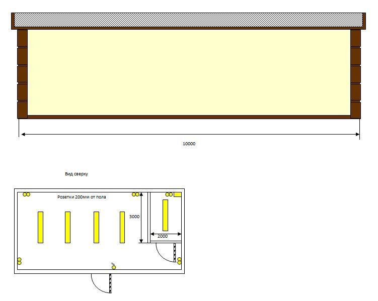 Эскиз и схема утепленного торгового павильона из сэндвич панелей от производителя