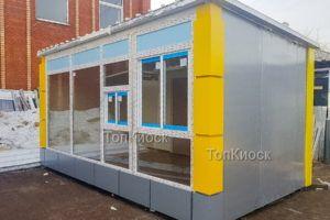 Павильон с окном выдачи без рекламного фриза с желтыми углами