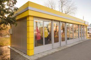 Желтый цветочный торговый павильон из сэндвич панелей