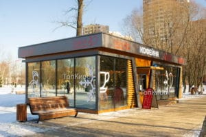 Утепленный торговый павильон под кофейню