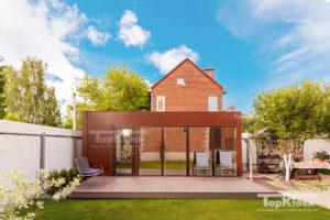 Дом дешевый с панорамным остеклением и зеркальной тонировкой